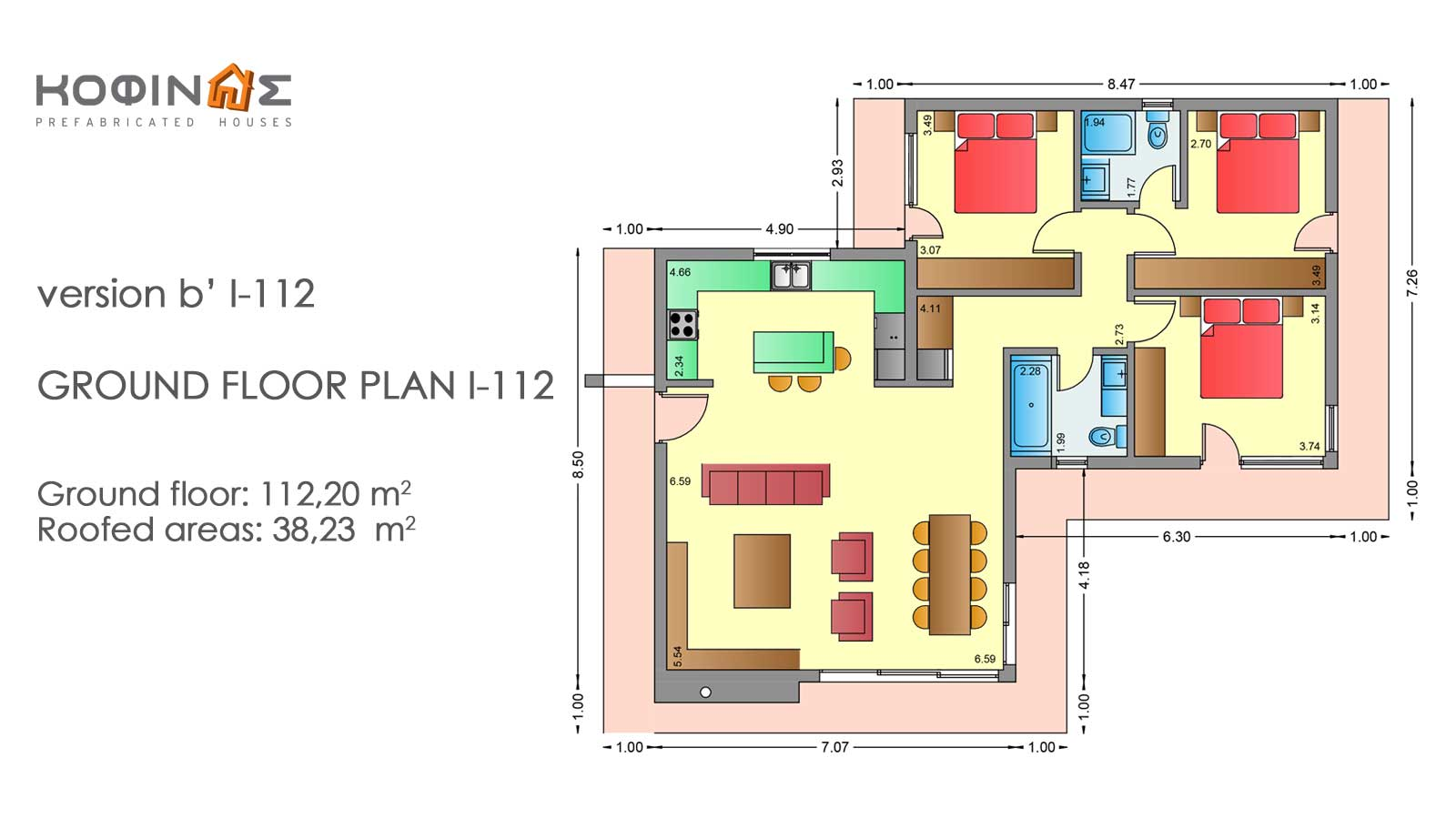 1-story house I-112, total surface of 112,20 m²