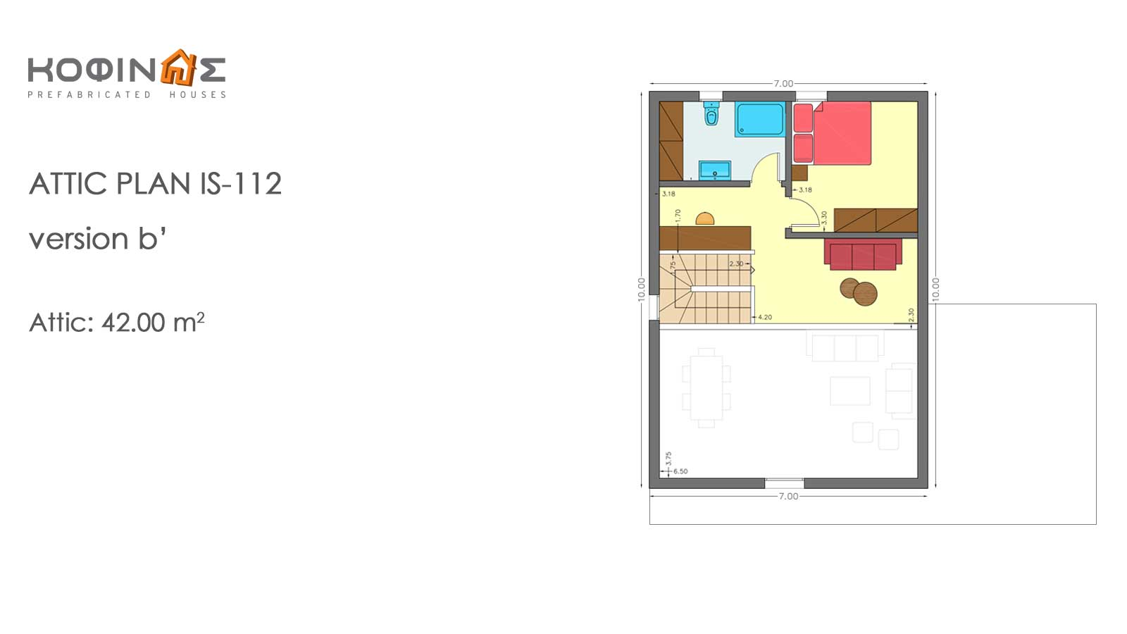 1-story house with attic IS-112, total surface of 112,00 m²