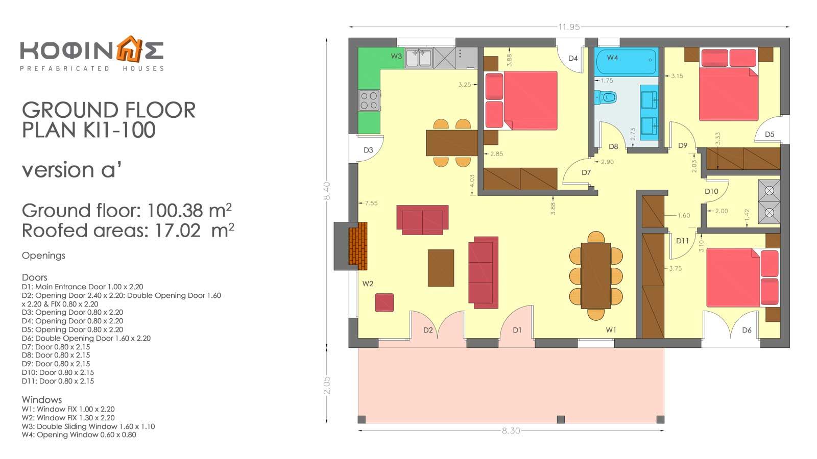 Single story house, KI1-100 (100,38 m²) – Price: 77.800€