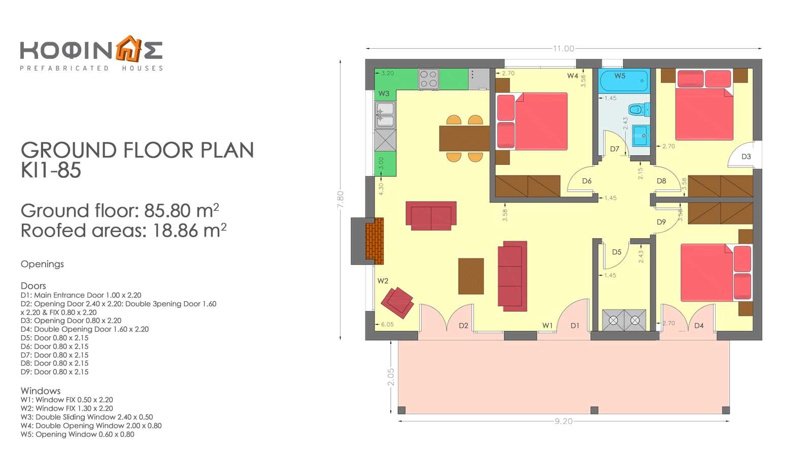 Single story house, KI1-85 (85,80 m²) – Price: 67.000€