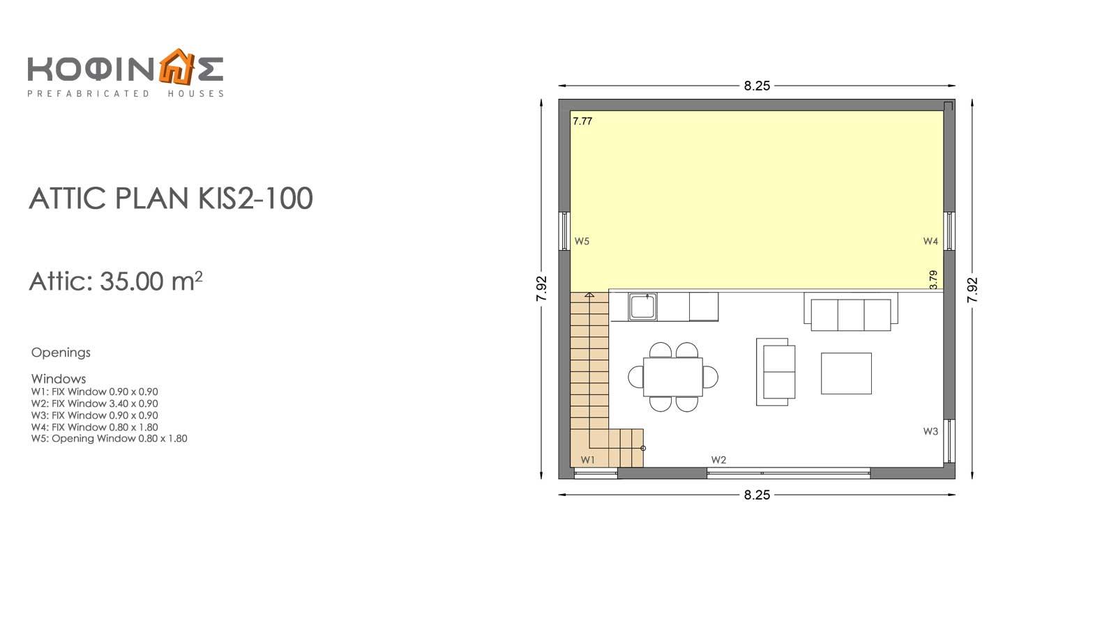 Single story house, KIS2-100 (100,37m²) – Price: 88.300€