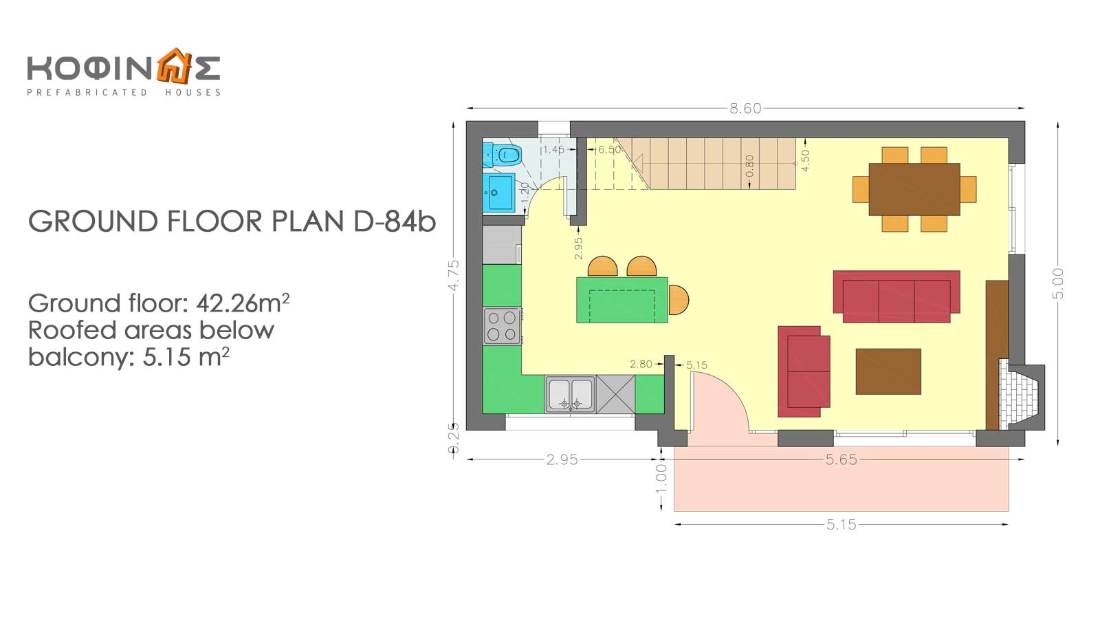 2-story house D-84b, total surface of 84,52 m²