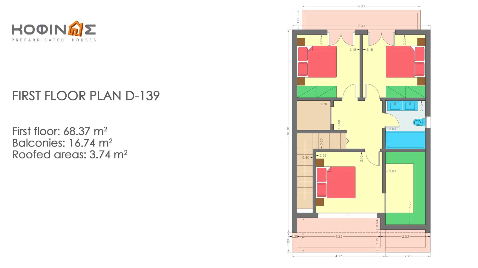 2-story house D-139, total surface of 139,00 m²