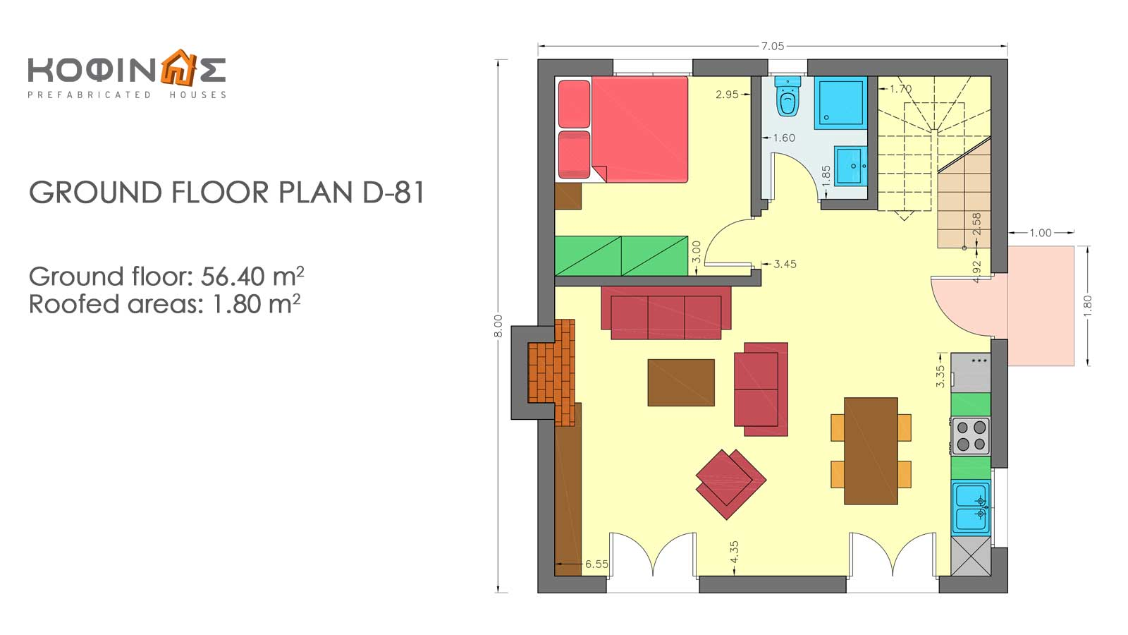 2-story house D-81, total surface of 81,08 m²