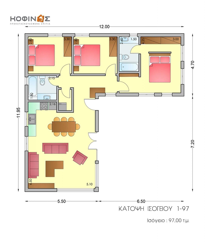 Ισόγεια Κατοικία I-97, συνολικής επιφάνειας 97,00 τ.μ.