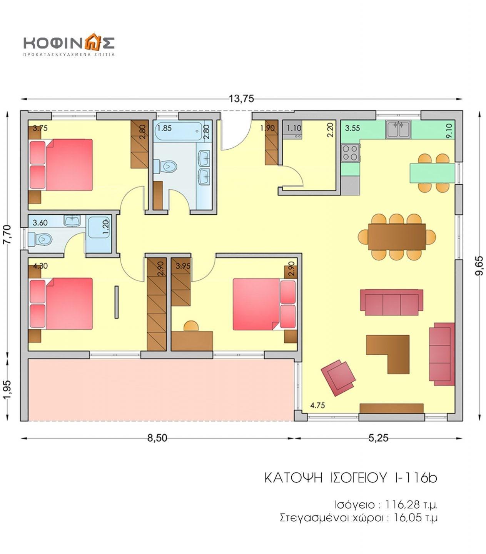 Ισόγεια Κατοικία I-116b, συνολικής επιφάνειας 116,80 τ.μ.