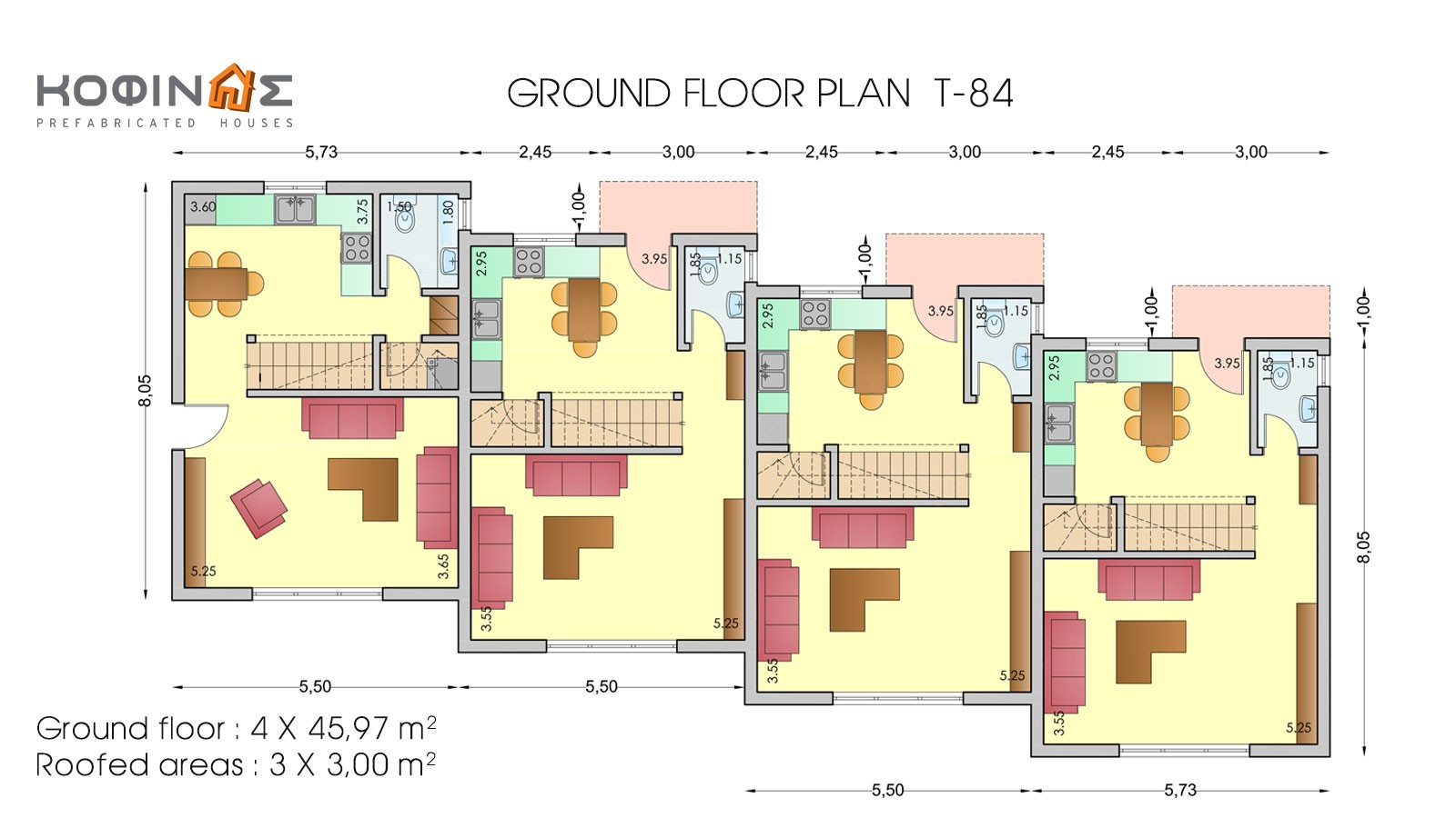 3-story house T-84, total surface of 84,17 m²