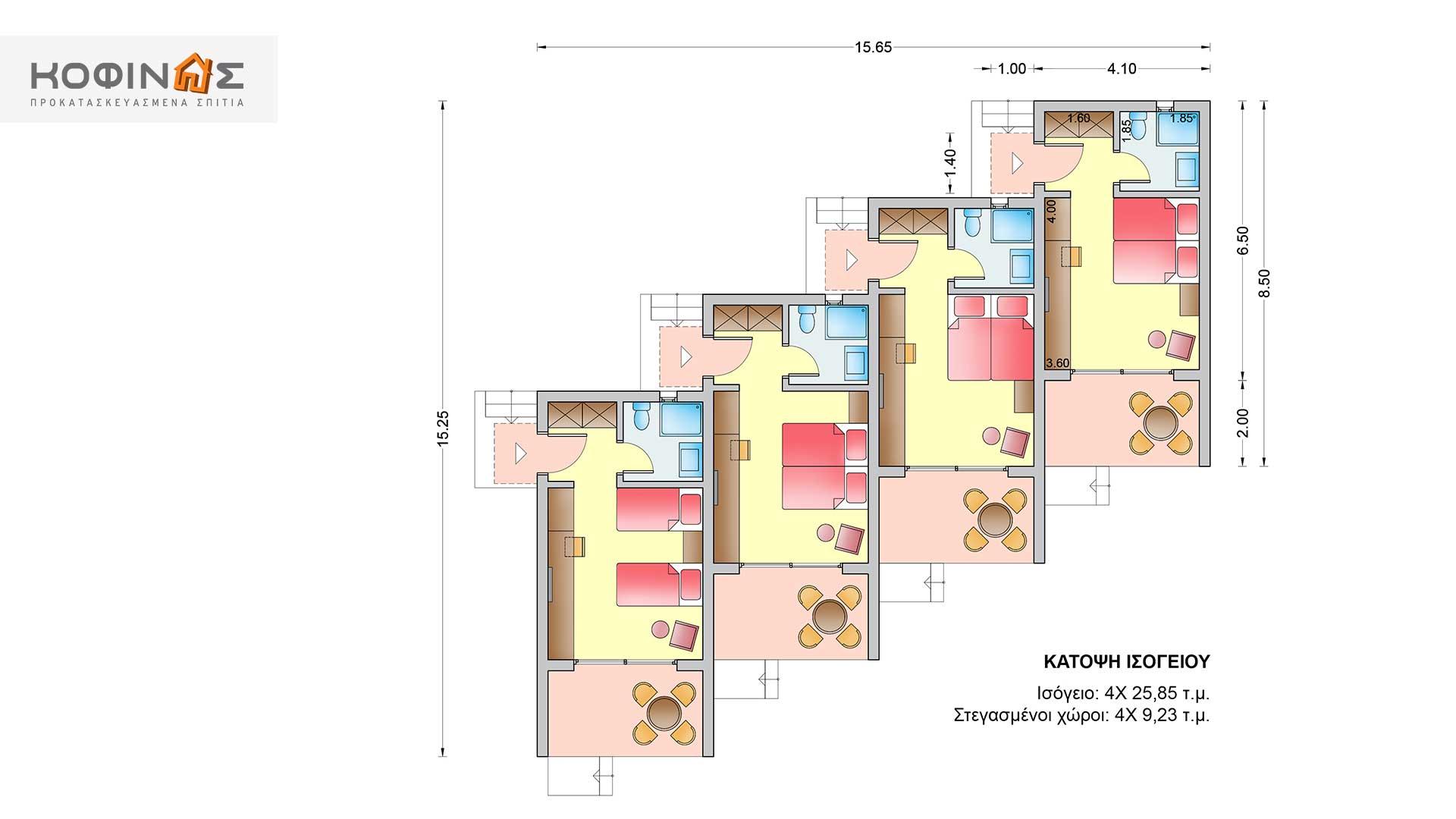 Συγκρότημα Κατοικιών E-25a, συνολικής επιφάνειας 4 x 25,85 = 103,40 τ.μ.