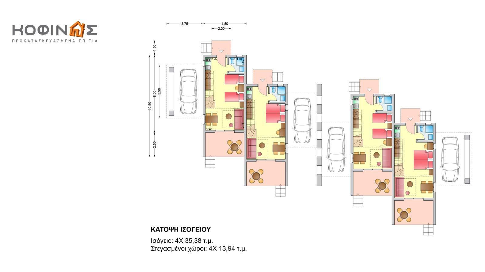 Συγκρότημα Κατοικιών E-59, συνολικής επιφάνειας 4 x 59,82 = 239,28 τ.μ.