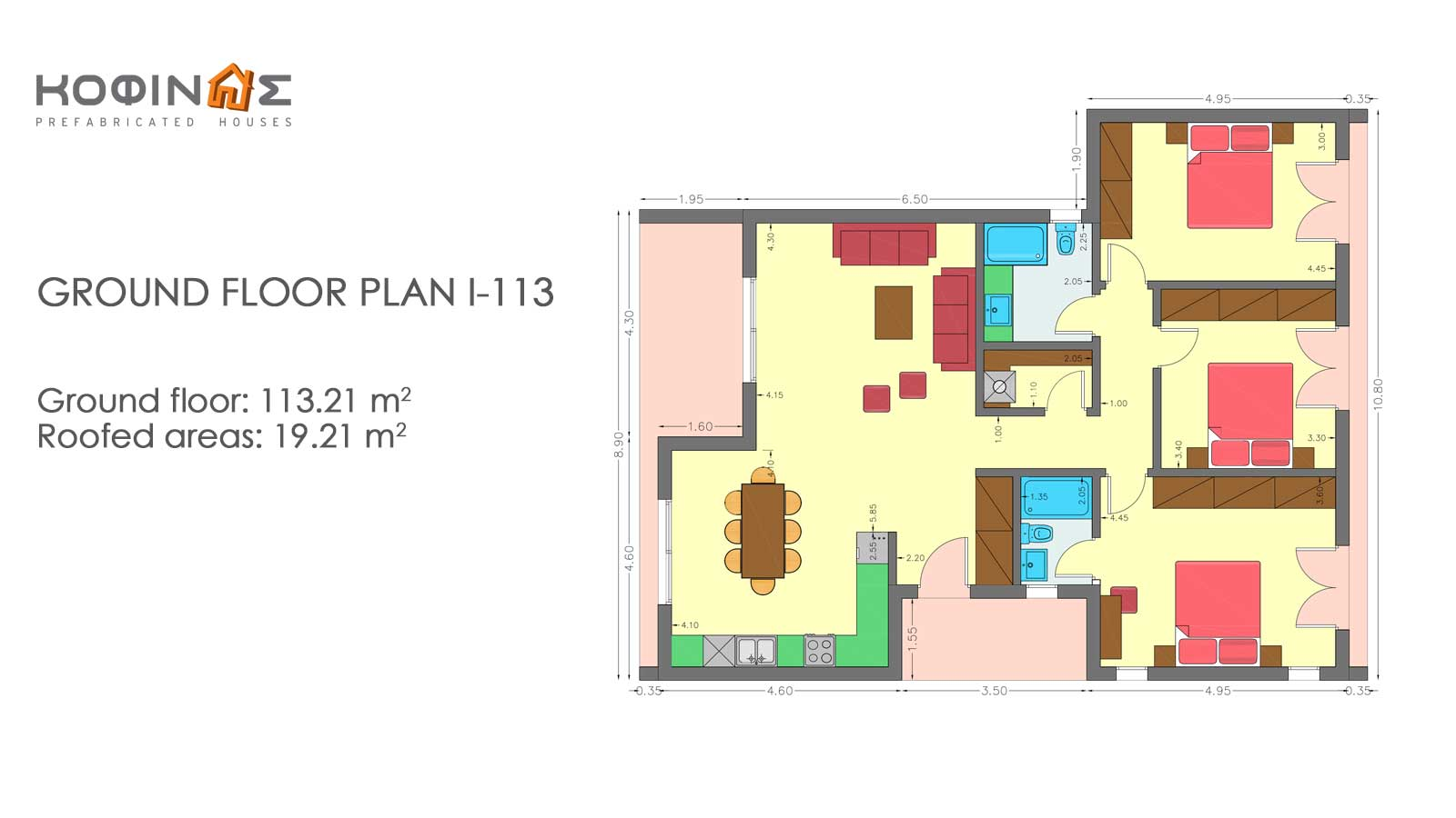 1-story house I-113, total surface of 113,21 m²