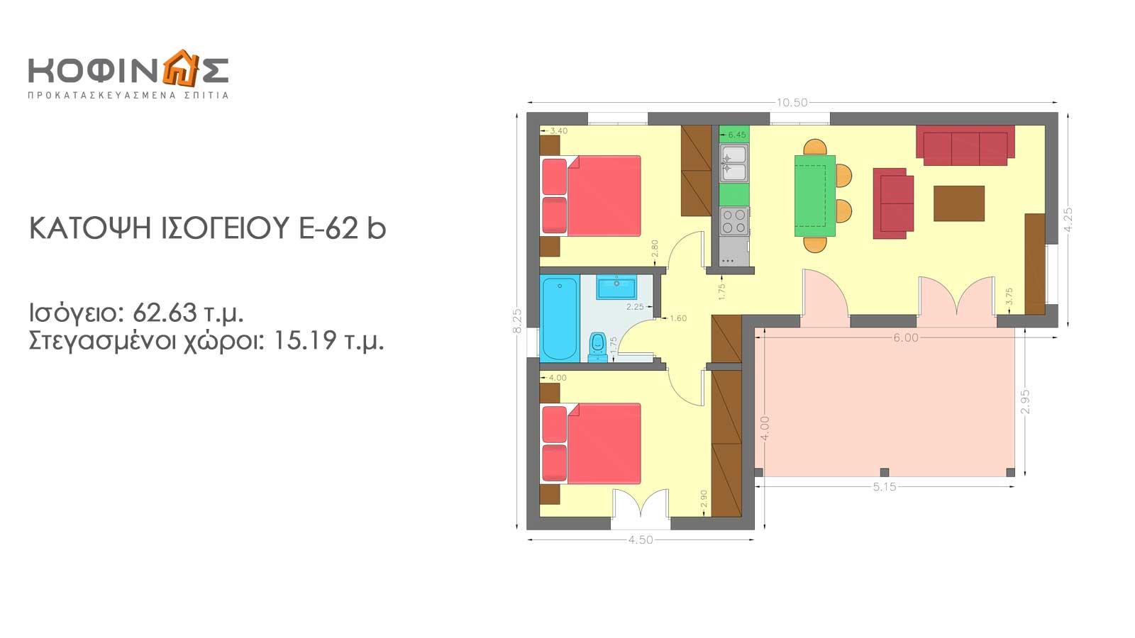 Συγκρότημα Κατοικιών E-62b, συνολικής επιφάνειας 3 x 62,63 = 187,89 τ.μ.